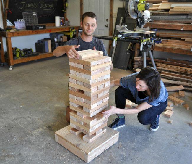 How to Make a DIY Giant Jenga Game   Diy outdoor weddings ...