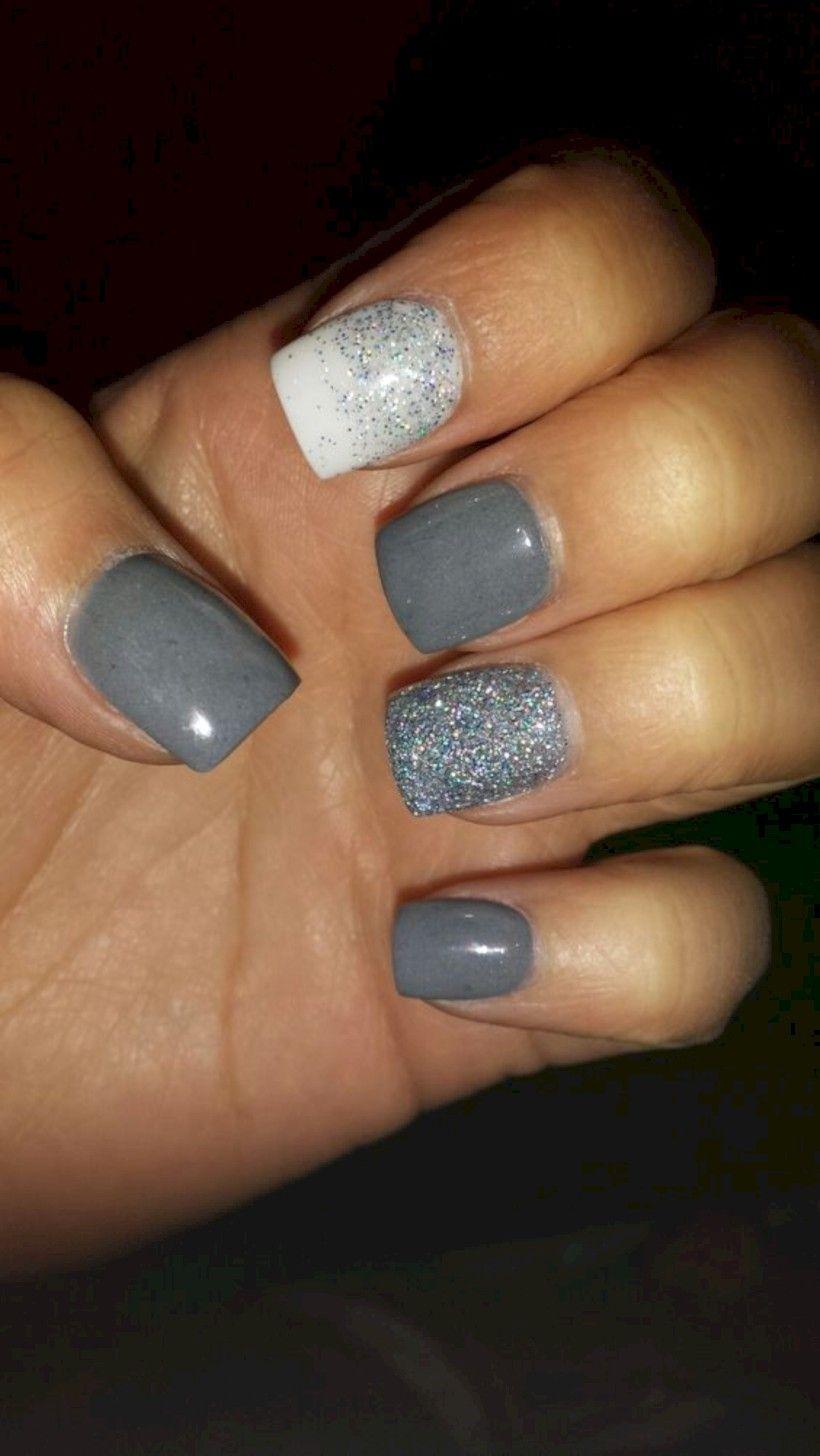 35 Beauty Blue And Grey Acrylic Nail Art Winter Nails Acrylic Grey Acrylic Nails Square Acrylic Nails