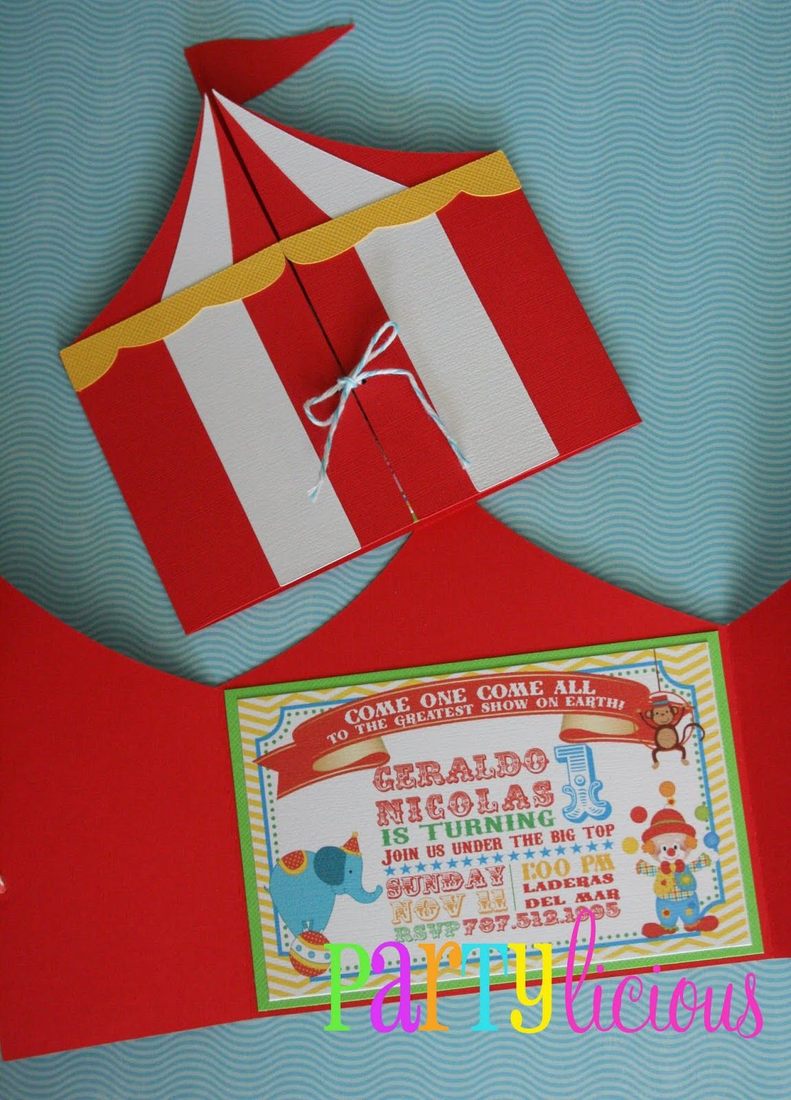 Circus Tent invitation folder Circus carnival by MyPaperPlanet – Circus Party Invites