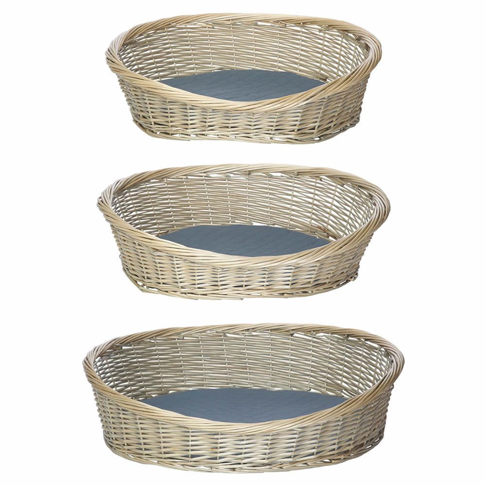 Oval Wicker Dog Pet Bed Basket Sofa Puppy Cat Natural Wood Handmade Grey Rattan Ebay Dog Beds For Small Dogs Dog Pet Beds Waterproof Dog Bed