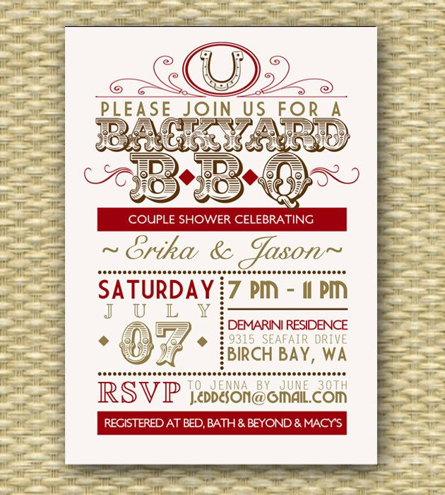 Vintage Country Western BBQ Bridal Shower\/Wedding or Birthday - vintage invitation template