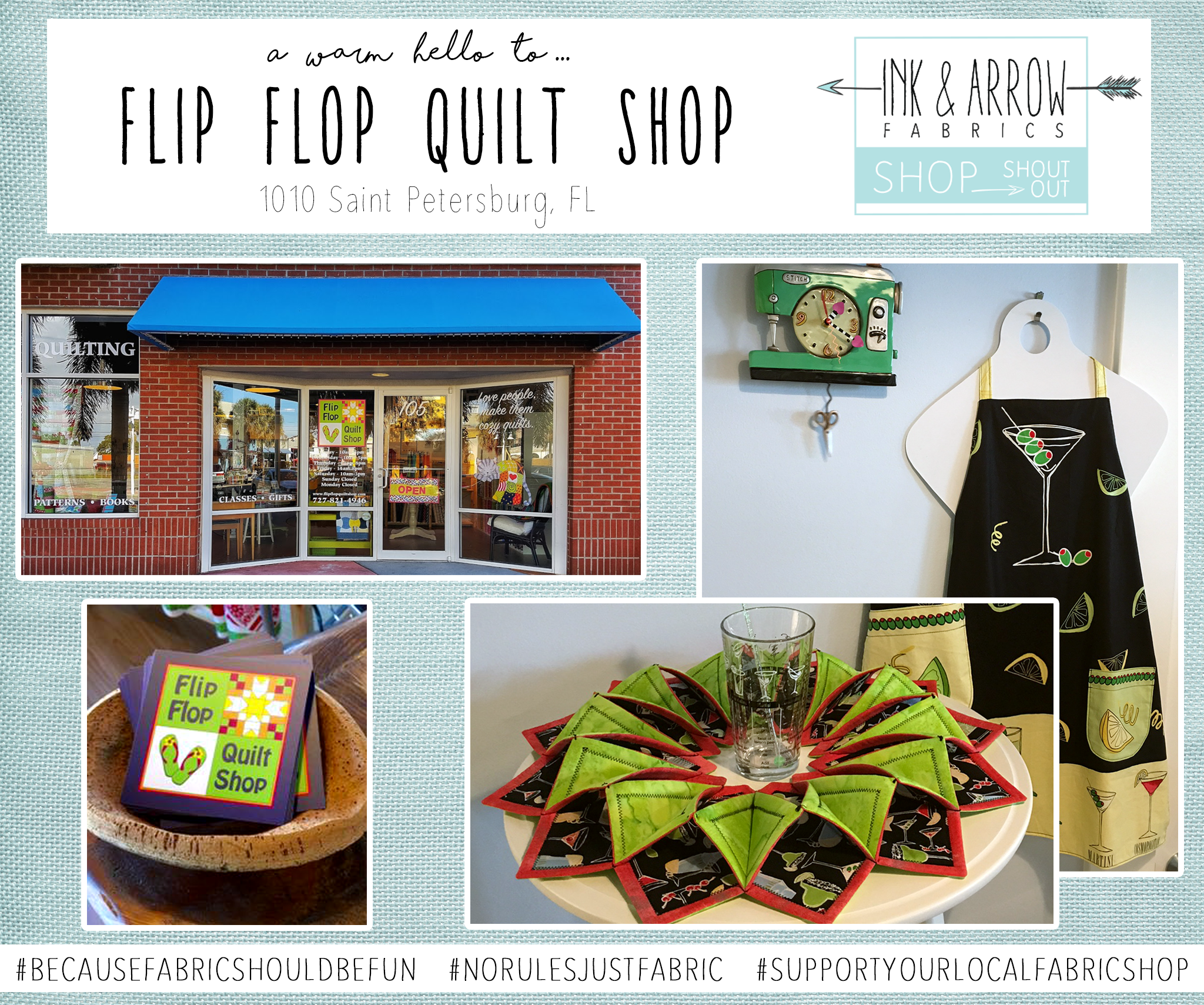 Warm Hello to Flip Flop Quilt Shop in St. Petersburg, FL! | Shop ... : quilt shops in orlando - Adamdwight.com