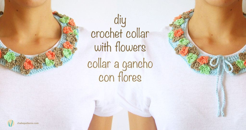 Diy crochet collar with flowers, free pattern/ Collar a gancho con ...