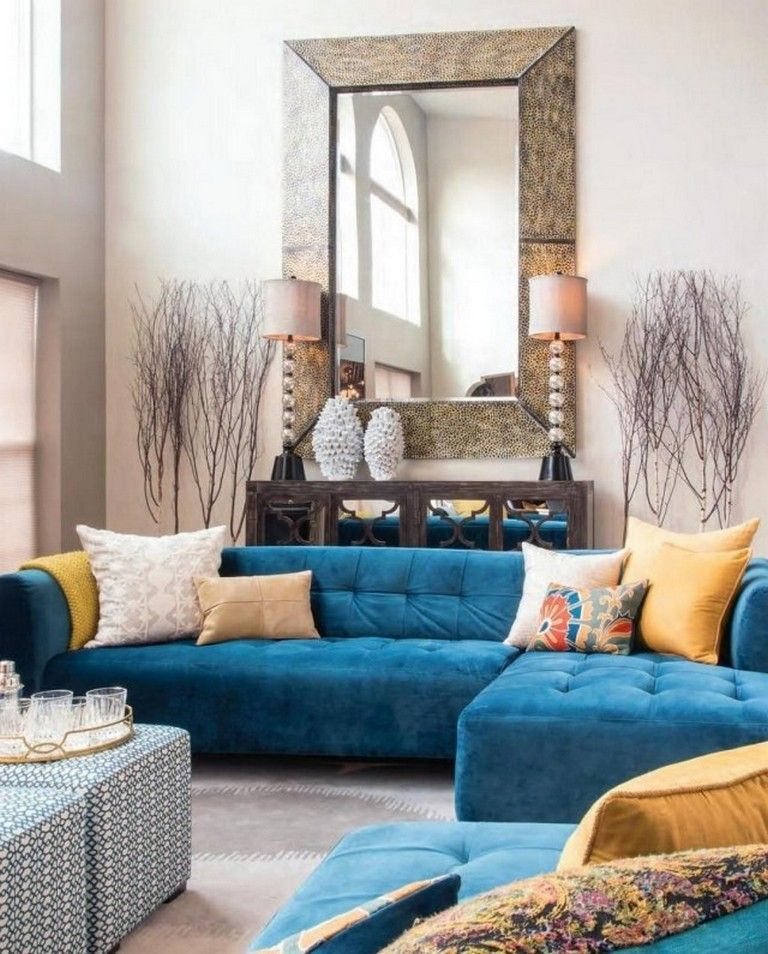 20 Mustard And Blue Living Room Decoration For Your Home Blue Living Room Decor Teal Sofa Living Room Blue And Gold Living Room #teal #and #gold #living #room
