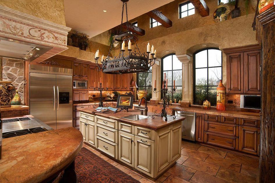 Kitchen Rustic Tuscan Kitchen Ideas Bronze Single Handle Faucet Metal Chandle Holder Side By Side Refrigerator White Microwave Stainless Steel Sink Vintage Chandelier Beige Painted Kitchen Island Luxury Tuscan Kitchen Ideas #Tuscandecor