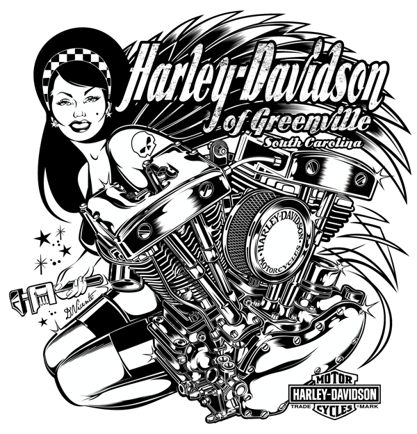T-Shirt Design for HARLEY DAVIDSON - Greenville - South Carolina - USACopyright Harley Davidson © 2012.