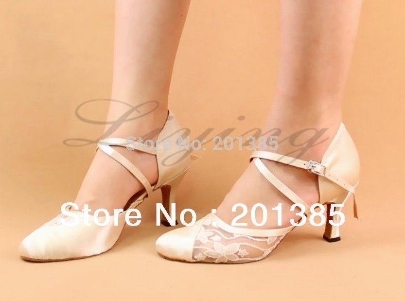 Free Shipping Ivory Closed Toe Wedding Dance Shoe Ballroom Salsa Latin Waltz Smooth Dancing Shoes Size
