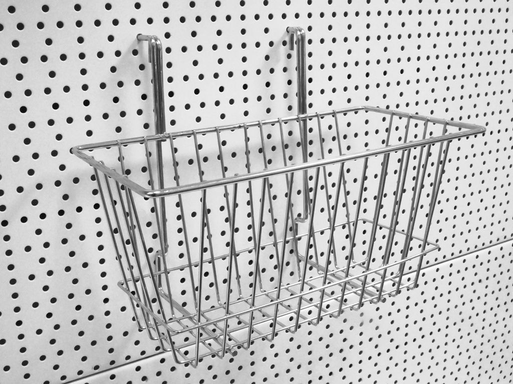Mesh basket / Slots easily into your pegpanel. Range of sizes available. Pegboard and pegboard accessories sold separately. These pegpanels are compatible with several 50mm shelving systems including Tegometall shelving and Evolve shelving  #metalshelving #shopshelving #backpanel #pegpanel #peghooks #meshbasket