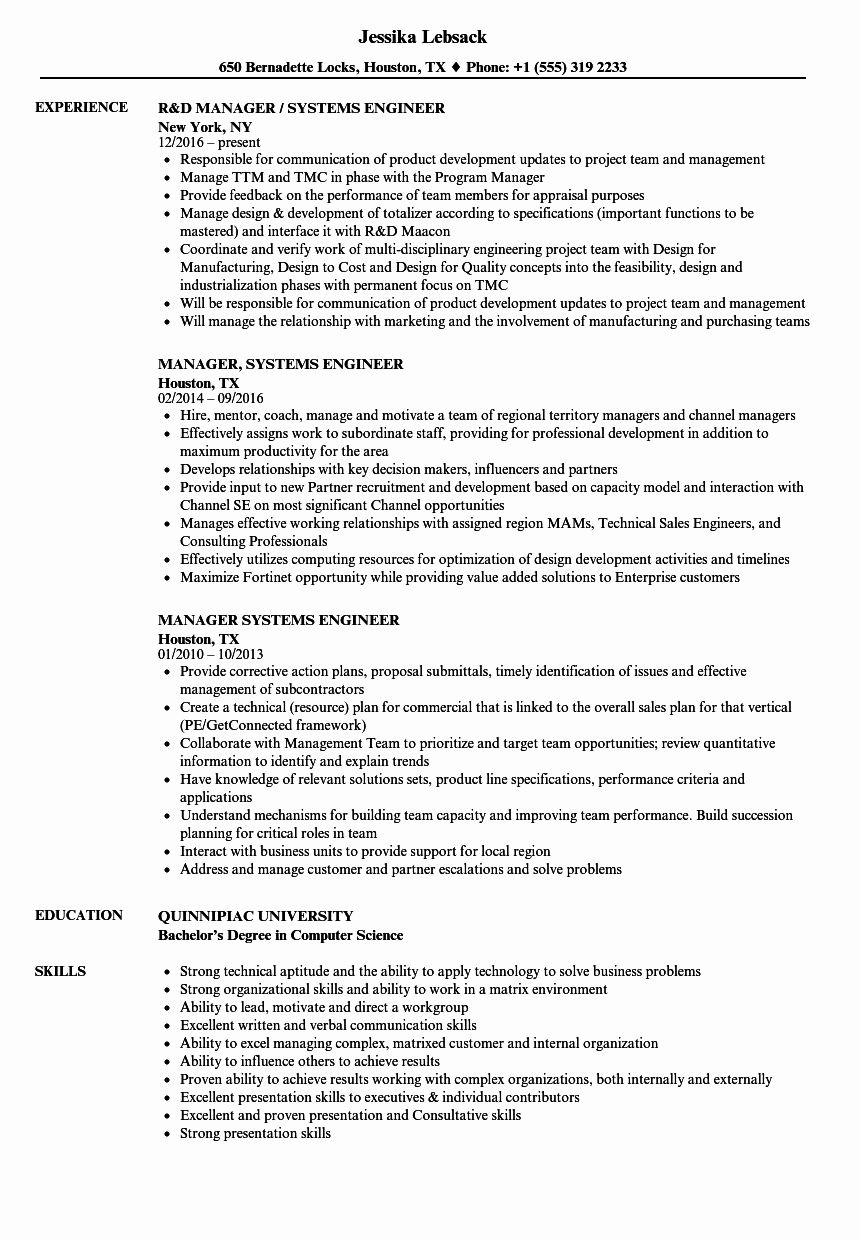 23 System Engineering Resume Examples in 2020 Event