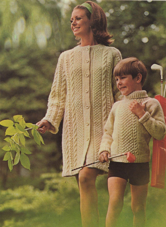 Womens Aran Coat and Boy or Girls Aran Sweater PDF Knitting Pattern ...