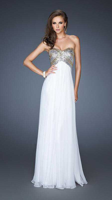 White and Gold Long Prom Dresses 2013