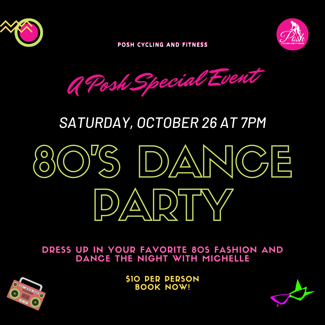 Tonight We Party Grab Your Fav 80s Gear And Dance It Out With Michelle At 7 P M Saturday Oct 26 Be There We Can T Wait Dance It Out Fitness Event Dance