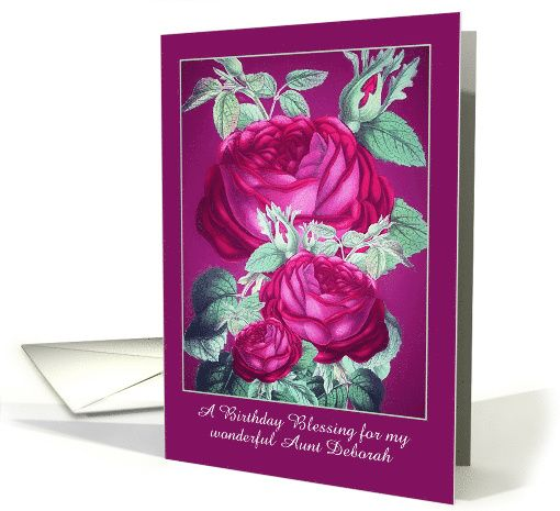 Customizable Add Name Recipient Christian Birthday Roses Painting Card