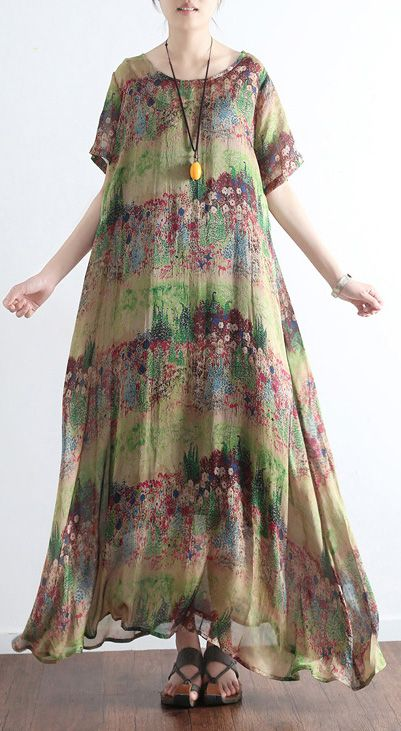 aa1cadd27a 2017 green print silk dresses casual plus size maxi dress short sleeve large  hem