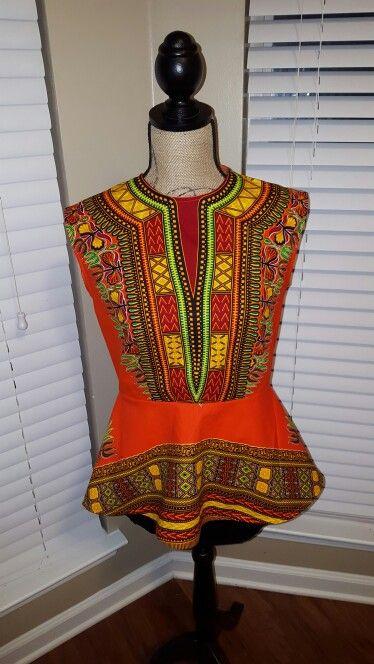 Vogue 8815 in dashiki wax fabric. View A