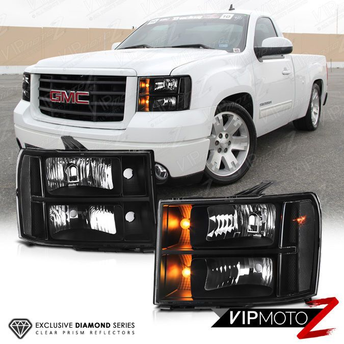 Clear Reflector Series 2007 2013 Gmc Sierra Black Front Headlights Left Right Gmc Sierra Gmc 2014 Gmc Sierra
