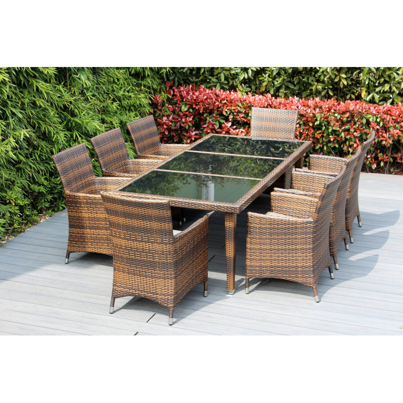 Outdoor Ohana All Weather Wicker 9 Piece Patio Dining Table Set