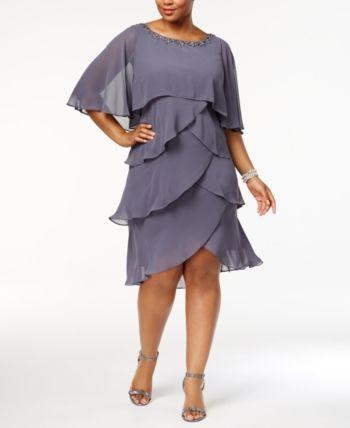 Sl Fashions Plus Size Embellished Tiered Chiffon Dress ...