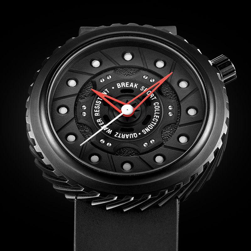 62c8c3a8a09 Luxurious Brand sports Quartz Watch black Silicone strap Men military  Watches Tire shape Waterproof unique design wristwatch stereoscopic