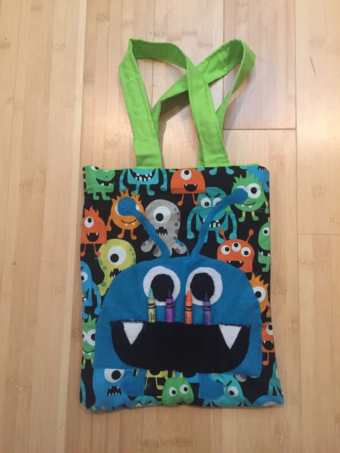 monster coloring book tote bag childrens tote bag crayon holder birthday gift - Coloring Book And Crayon Holder