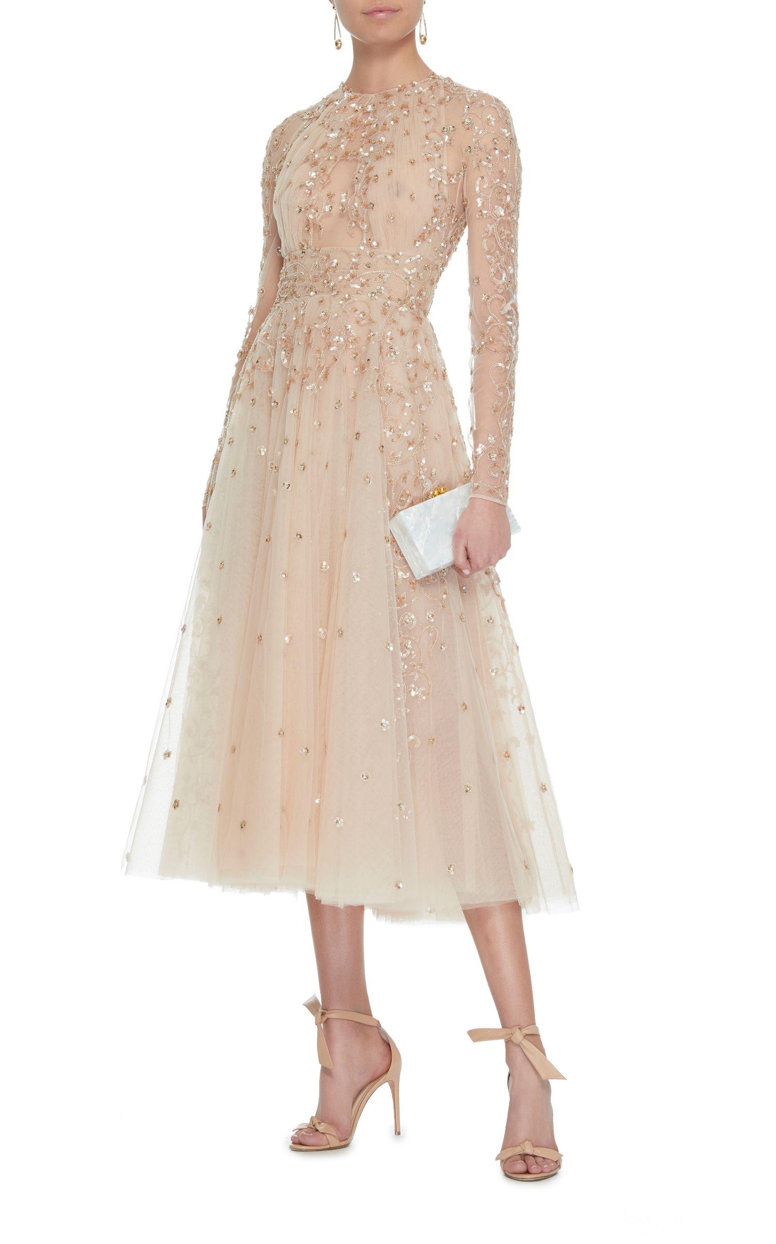 Zuhair Murad Arianna Embellished Silk Midi Dress Color Gold: Midi Wedding Dress Illusion At Reisefeber.org