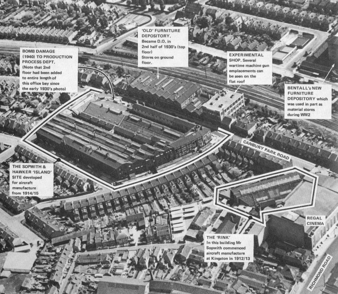 Hawker Aircraft Sites In Kingston Upon Thames 1947 Kingston Upon