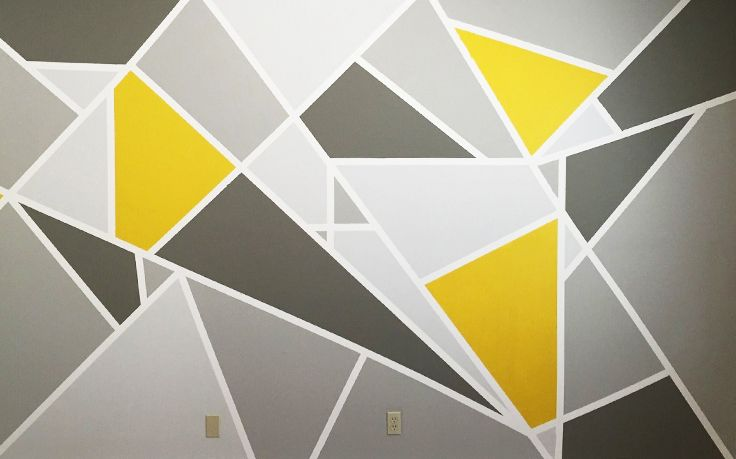 When painting a diy feature wall use geometric shapes to - Geometric wall designs with paint ...