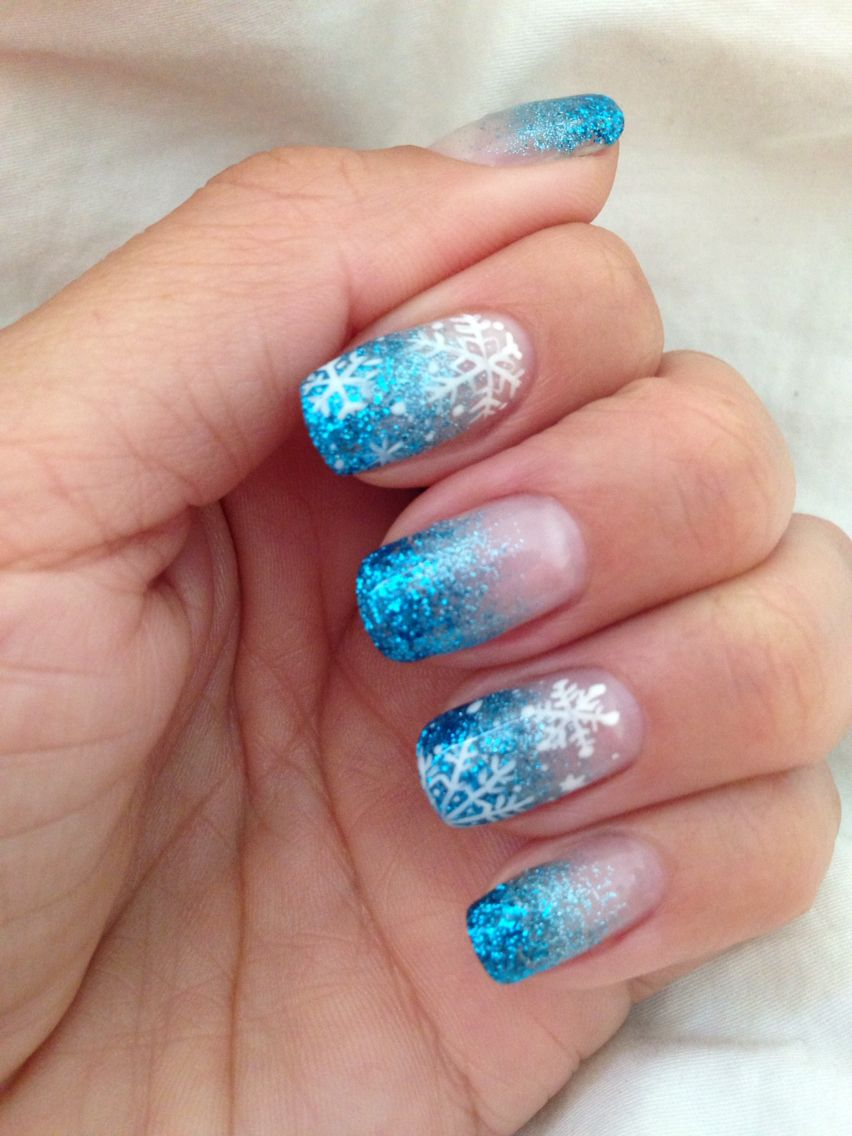 12.17.14 frozen inspired nails. My real nails with gel only. Loving ...