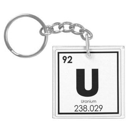 Uranium Chemical Element Symbol Chemistry Formula Keychain