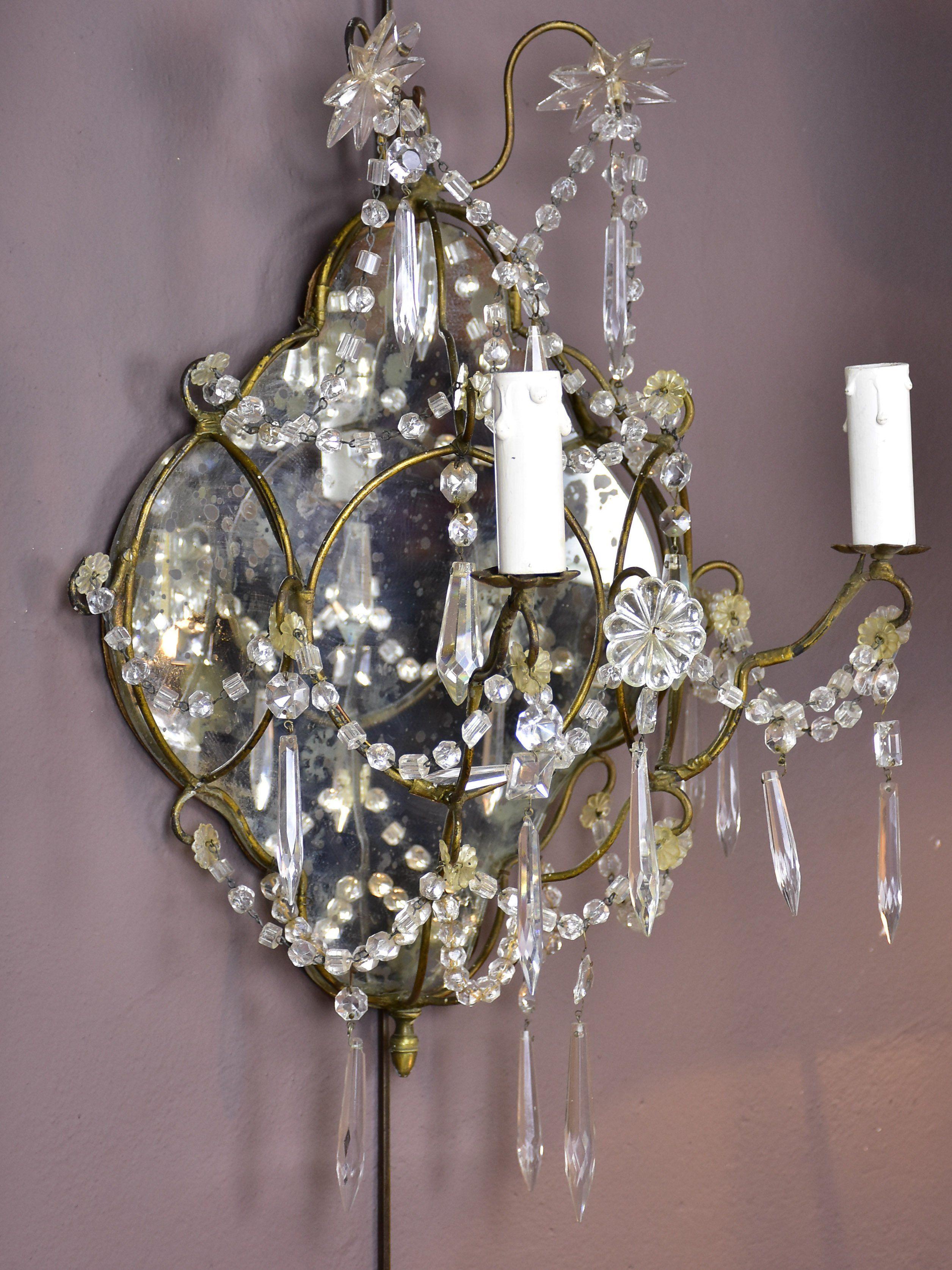 Pair Of Late 19th Century Venetian Mirrored Wall Sconces Mirrored Wall Sconce Chandelier Sconces