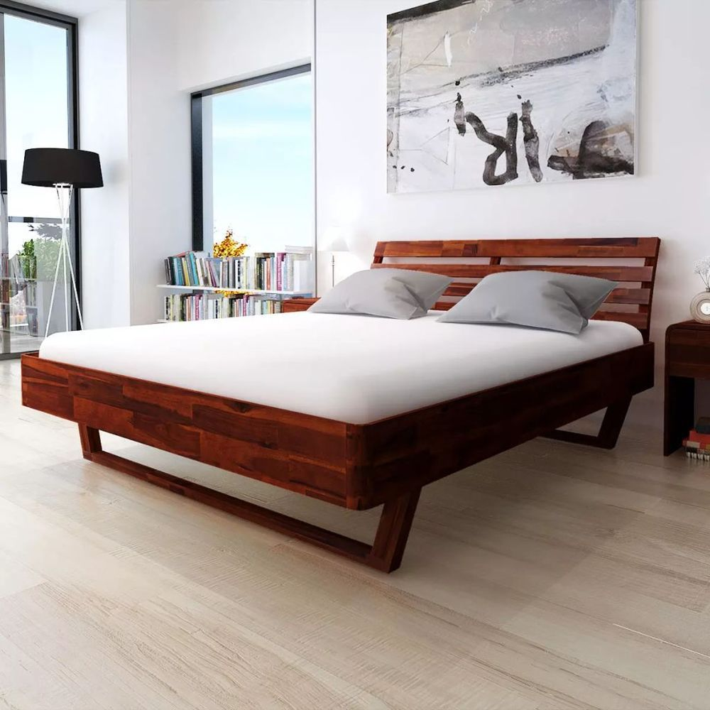 Solid Acacia Wood King Size Bed Frame