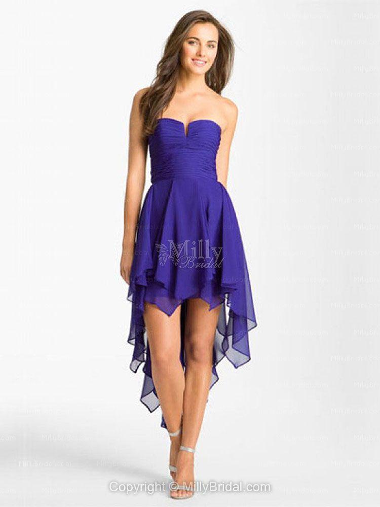 Asymmetrical Chiffon Royalblue Homecoming Dress | Dresses | Pinterest