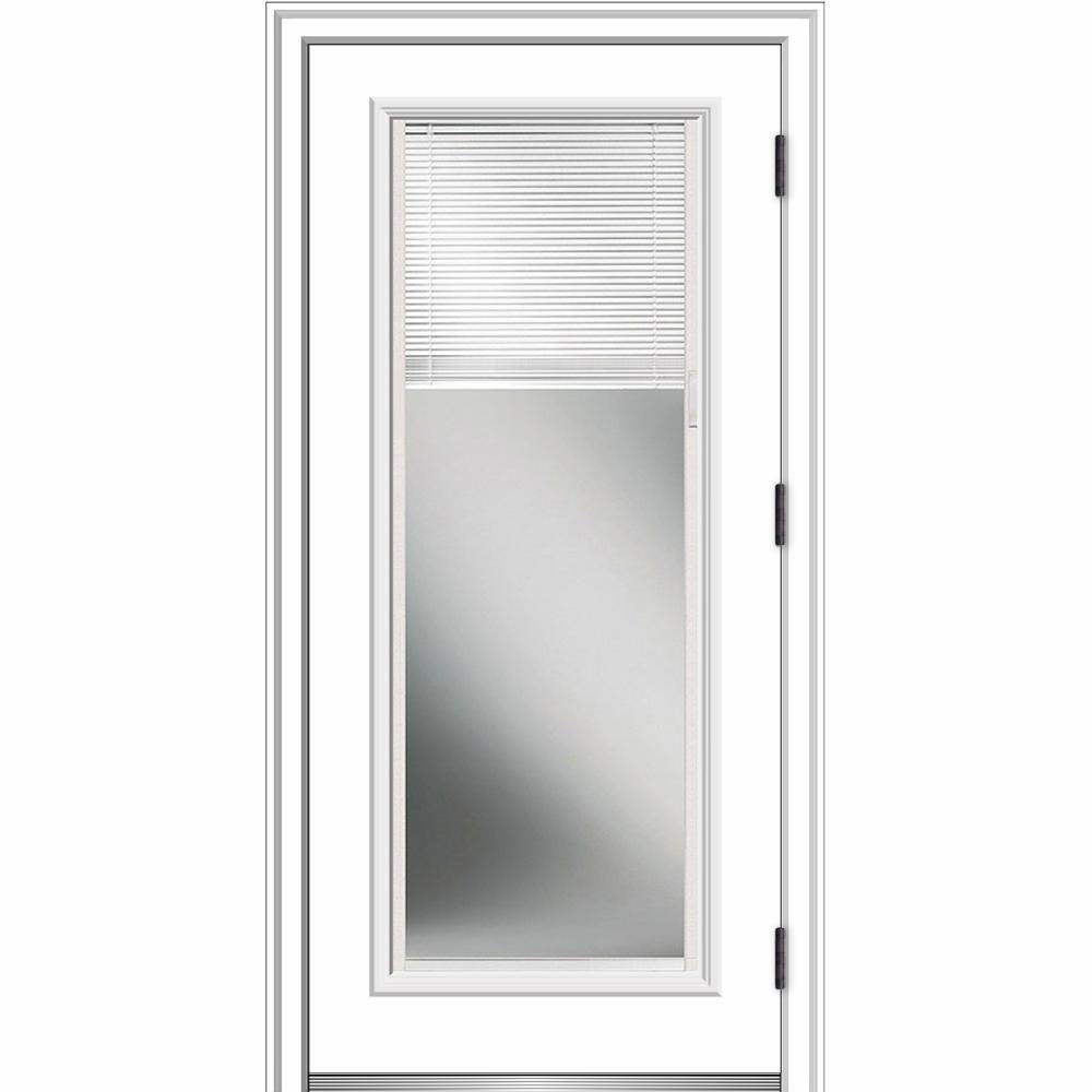 Mmi Door 36 In X 80 In Internal Blinds Left Hand Outswing Full Lite Clear Primed Fiberglass Smooth Prehung Front Door Z002381l Single Patio Door Prehung Doors Blinds