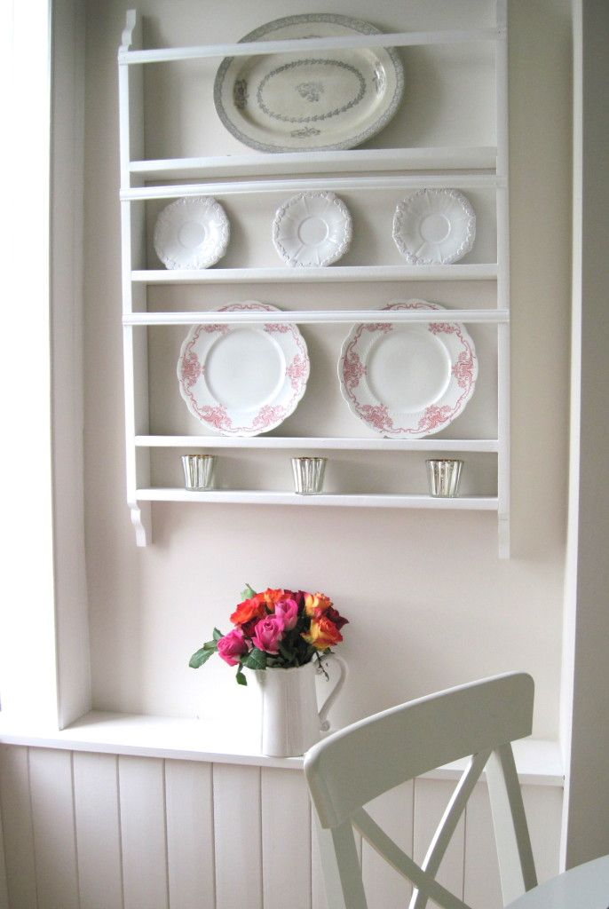 Painted white plate rack designed by Louise Keane of Amalfi White Living. Shown here with red and white transferware and an antique grey and white Swedish ... & Painted white plate rack designed by Louise Keane of Amalfi White ...
