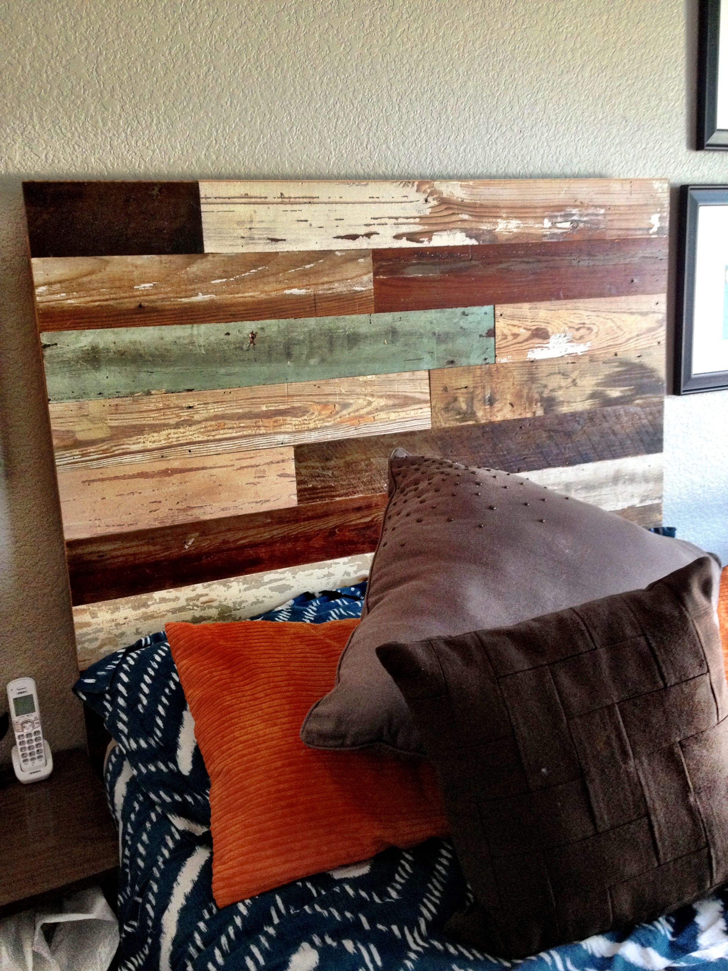 Reclaimed wood headboard my pinspired projects for Recycled headboards