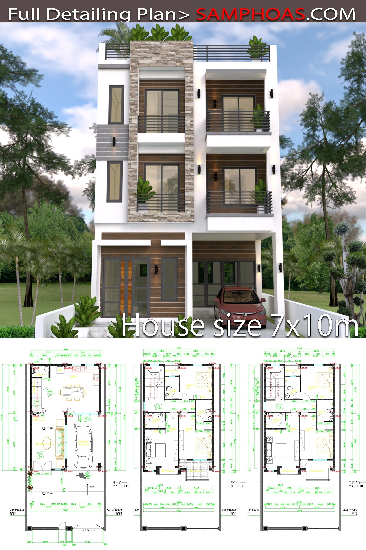 Home Design Plan 7x10m With 6 Bedrooms Samphoas Plan House Arch Design House Construction Plan Home Building Design