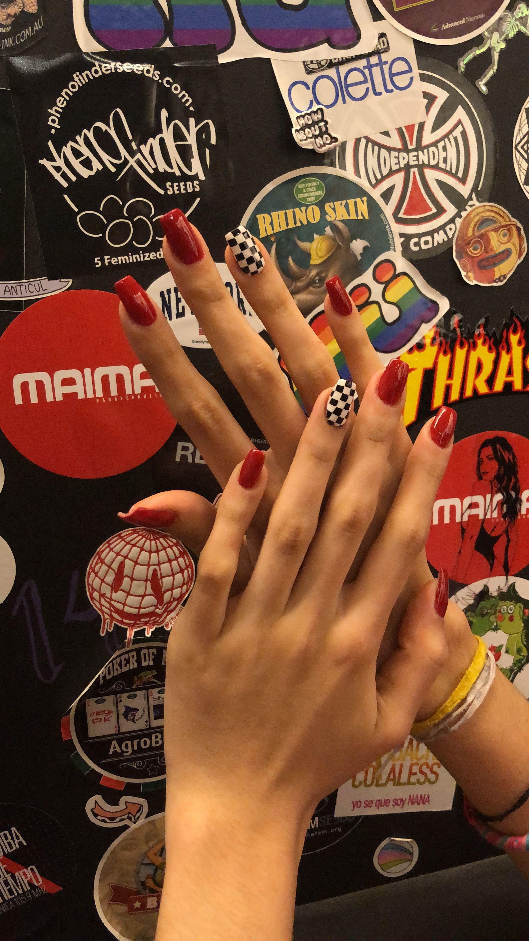 Nails #nail #nails #polish #nailart #race #checkered #hands #girl ...