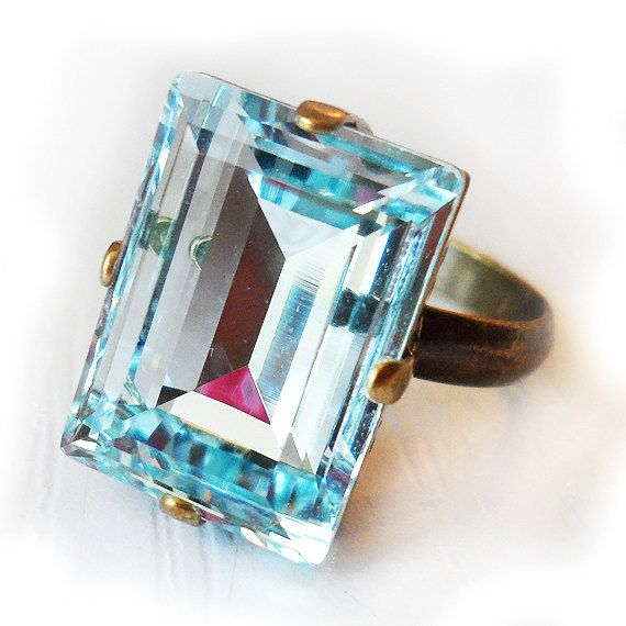 766b97df2 Light Blue Swarovski Ring - Emerald Cut Ring - Turquoise Swarovski ...