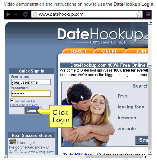 Datehookup login sign up a