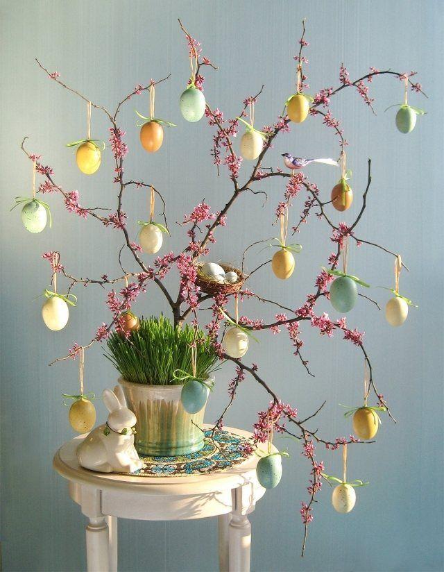 osterbaum dekorieren ausgeblasene eier aufhangen idee mehr
