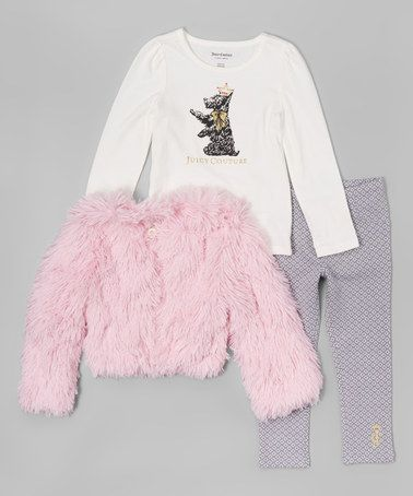 fe3a2e43e Another great find on  zulily! Pink Fluffy Long-Sleeve Jacket Set ...