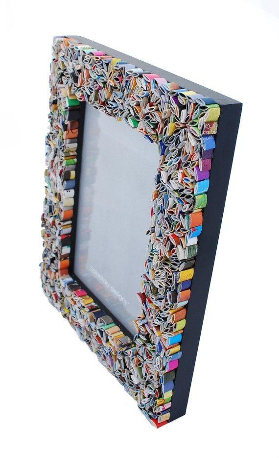 marco de foto de revistas recicladas azul por colorstorydesigns ...
