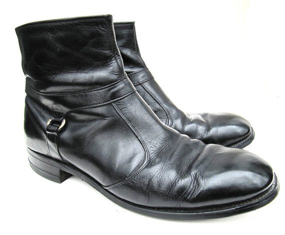 Finally a boot that might be in my size! Men's Black Leather Ankle Boots by worldvintagefashion on Etsy, $40.00
