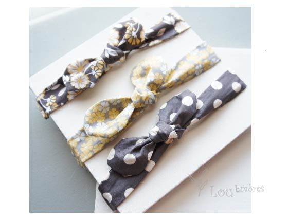 Adjustable-Bow knot fabric headbands Set of 3 Infant by LouEmbres