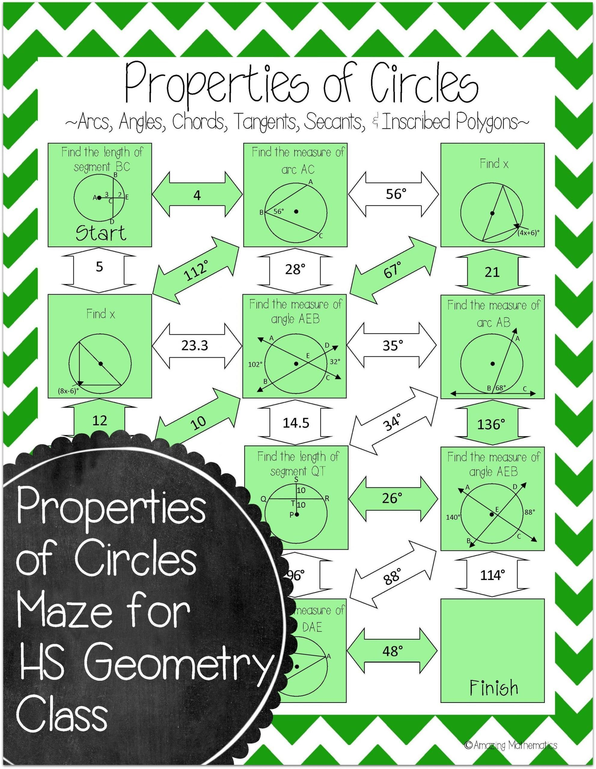 Angles In Circles Worksheet Properties Of Circles Maze Arcs Tangents Secants In 2020 Teaching Geometry Geometry Lessons Math Geometry