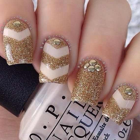 65 Ideas para pintar uñas de color dorado u oro - Golden Nails ...