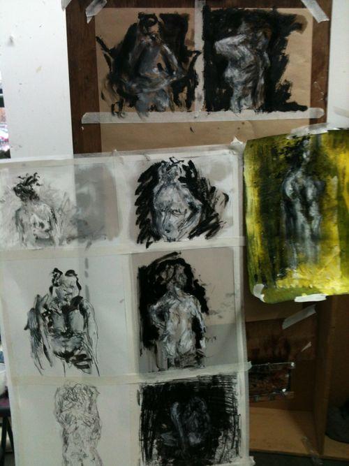 rossdickinsonfad:    mid way through life drawing studio work - linseed oil & oil bar