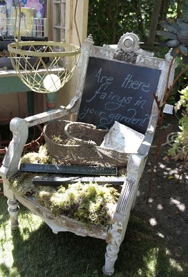 Who doesn't have an old funky chair lying around?  Great idea to upcycle it into perhaps an Edible chair, with Chalkboard = a Twofer!  Love this!