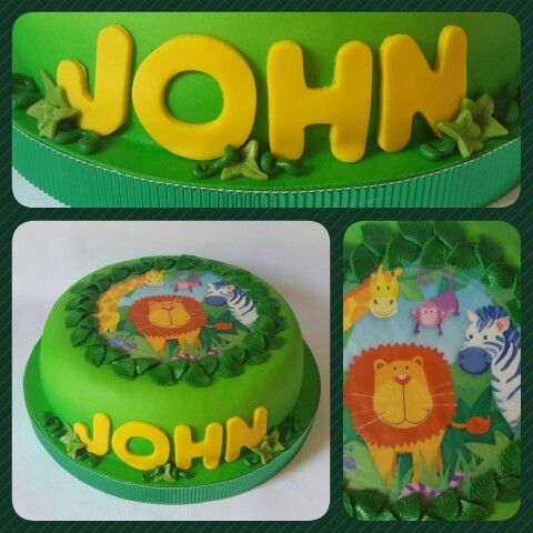 Cake Standard • Animalitos de la Jungla #PrityCakes #cakes #fondant #edibleprint #selva
