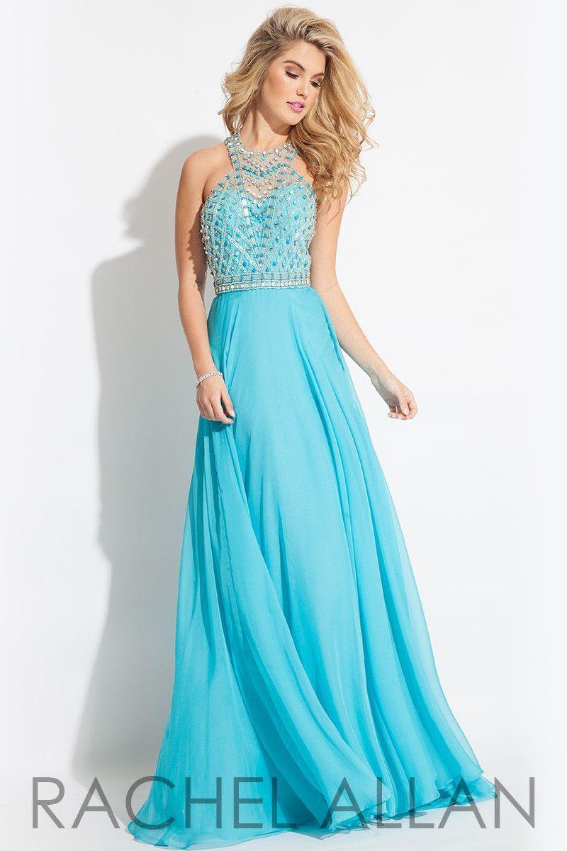 Rachel Alen 2068 Aqua Size 16 Chiffon prom dress, evening dress ...